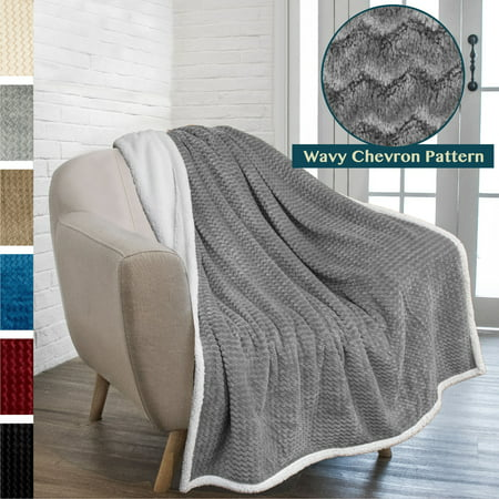 PAVILIA Premium Chevron Sherpa Throw Blanket | Soft Reversible Grey Fleece Blanket Throw | Plush, Fuzzy Throw for Couch Sofa, Lap TV Blanket| Lightweight Microfiber, 50x60 Inches ()