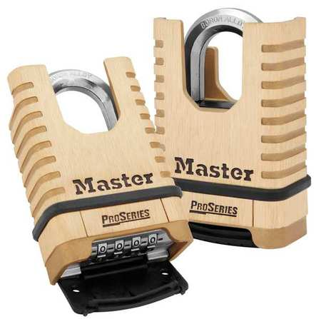 MASTER LOCK 1177 Combination Padlock, Bottom, 4 Dial, Brass