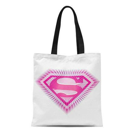 ASHLEIGH Canvas Tote Bag Super Supergirl Pink Girl Kara Zor Matrix Linda Danvers Reusable Handbag Shoulder Grocery Shopping Bags