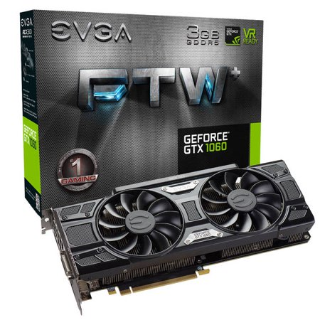 EVGA NVIDIA GeForce GTX 1060 FTW+ GAMING 3GB GDDR5 DVI/HDMI/3DisplayPort PCI-Express Video Card w/ ACX 3.0 Cooler
