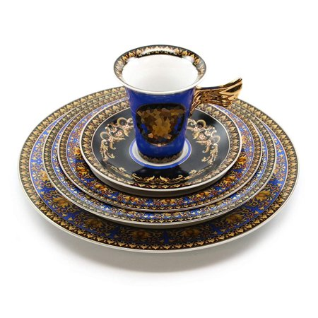 - Royalty Porcelain Vintage 5-pc Place Setting 'Blue Medusa', Premium Bone China