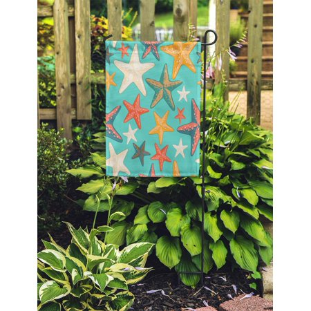 POGLIP Blue Pattern Beautiful Colorful Starfish on Turquoise Beach Abstract Garden Flag Decorative Flag House Banner 12x18 inch - image 2 of 2