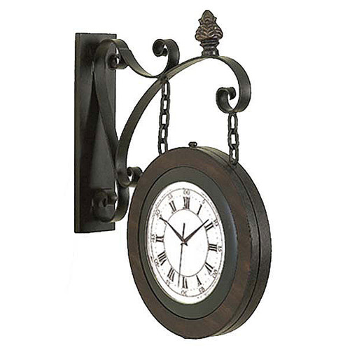 EC World Imports 15'' Handcrafted Metal Hanging Double Face Clock
