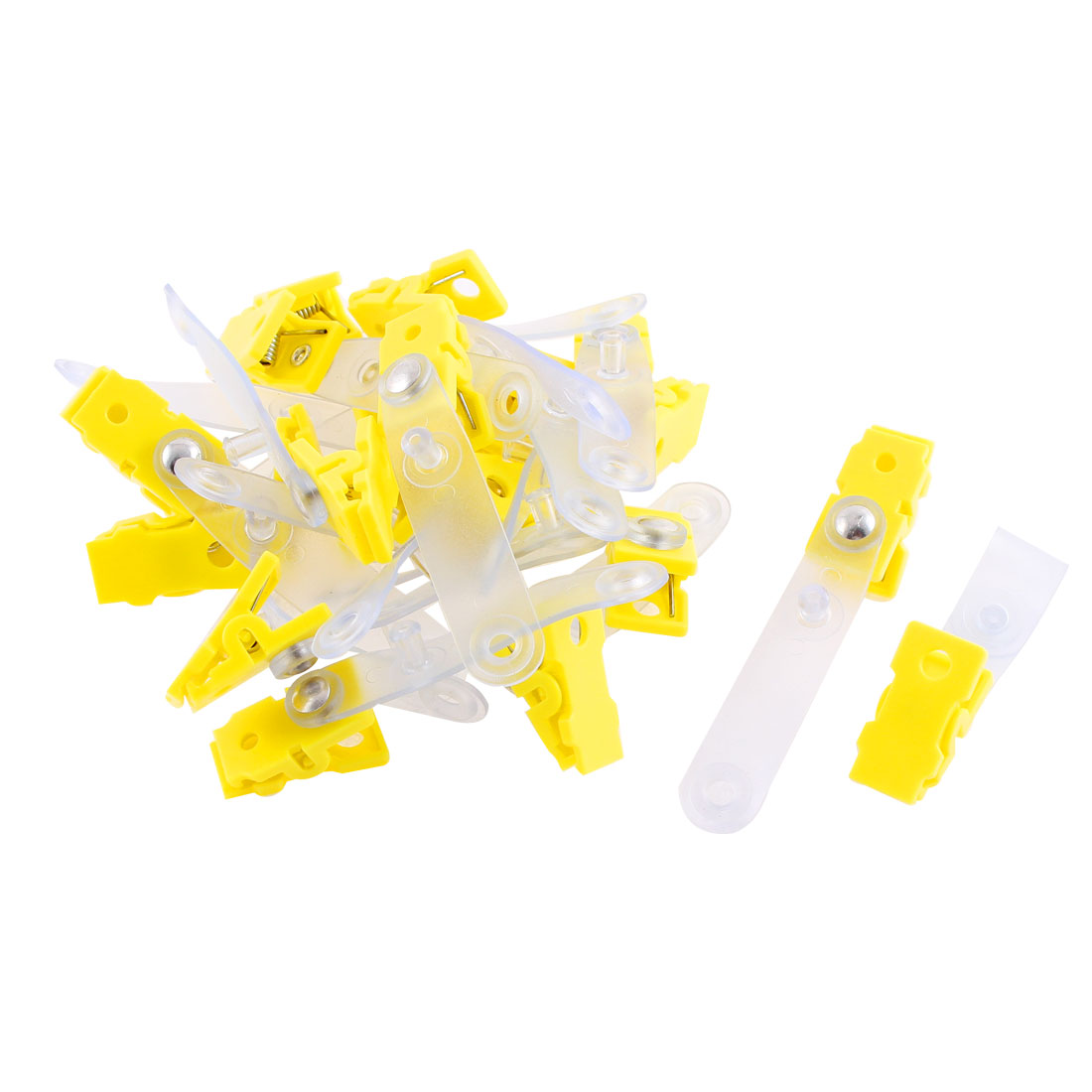 Unique Bargains 20 Pcs Plastic ID Name Office Card Photo Tag Holder Badge Strap Clip Yellow