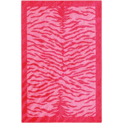 your zone zebra nylon accent rug, pink