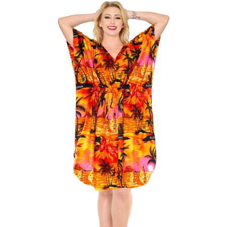 Ladies Hawaiin Plus Size Dress Evening Kaftan For Womens Short Maternity  Mini Caftan WM_Orange_N778