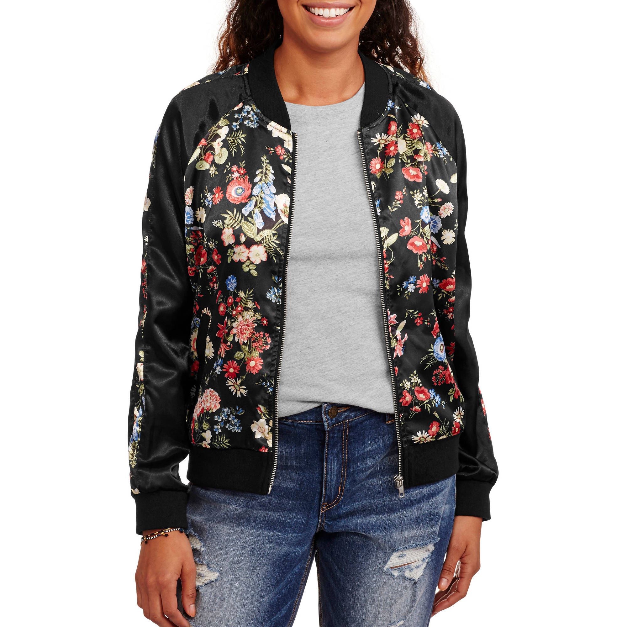 No Boundaries Juniors'' Satin Bomber Jacket