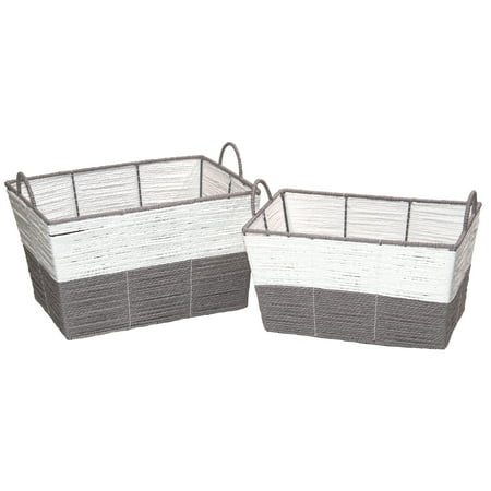 Mainstays Rectangular Color Block Paper Rope Basket, Set of 2, White and Grey ()