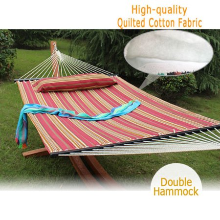 Zeny Heavy Duty Quilted Fabric Double Hammock With Pillow Spreader Bar 2 Person Swing