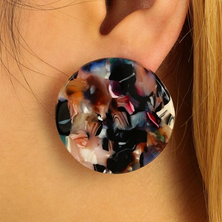 Girl12Queen Fashion Colorful Acrylic Zebra Big Round Ear Studs Banquet Party Women - Zebra Ears