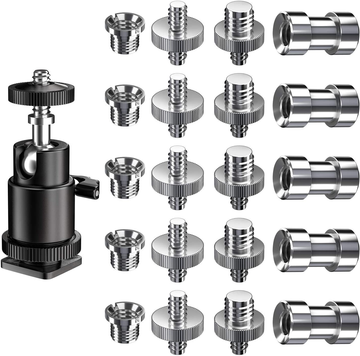 """1//4/"""" to 3//8/"""" Thread Screw Adapter Kit for Tripod Monopod Flash Light 3 in 1"""