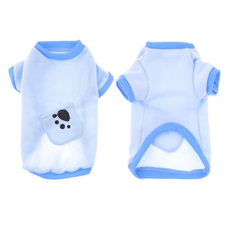 Unique Bargains Paw Print Doggie Pet Dog Cat Warm Apparel Jacket Shirt Coat Blue M Paw Dog Shirt