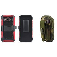 Heavy Duty Rugged Dual Layer Armor Kickstand Case with Belt Clip Holster (Red/Black) with Jungle Camo Tactical EDC MOLLE Belt Bag Pouch and Atom Cloth for Alcatel Tetra