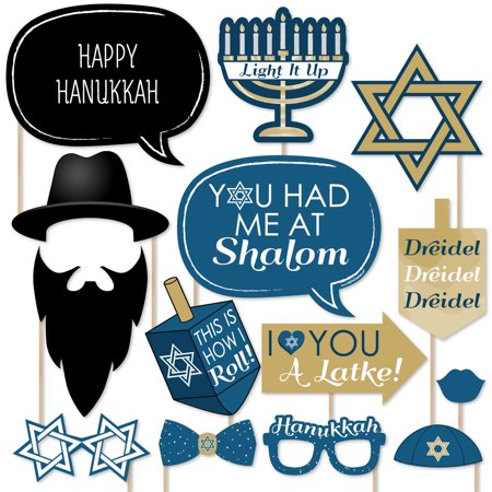 Happy Hanukkah - Chanukah Photo Booth Props Kit - 20 Count (Hanukkah Supplies)
