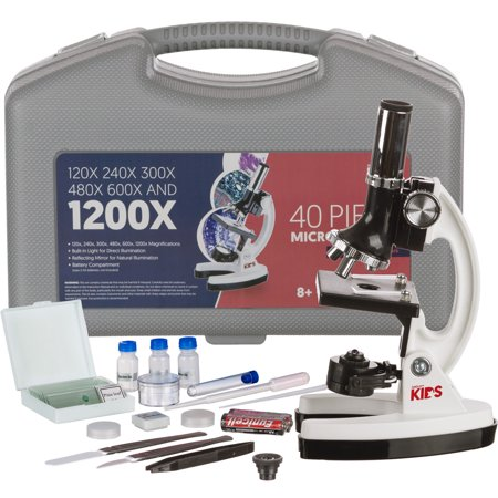 AmScope M30-ABS-KT1-W 120X-240X-300X-480X-600X-1200X 48pc Metal Arm Educational Kids Biological Microscope Kit - Microscope Kits