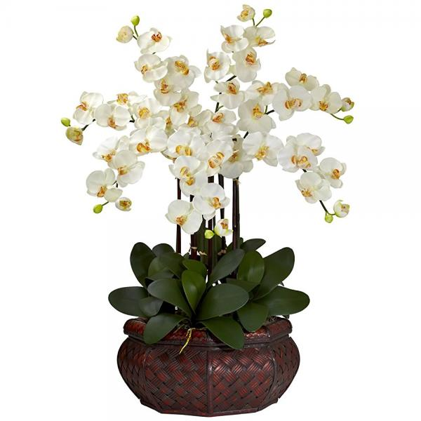 Nearly Natural 1201-cr large phalaenopsis silk flower arr...