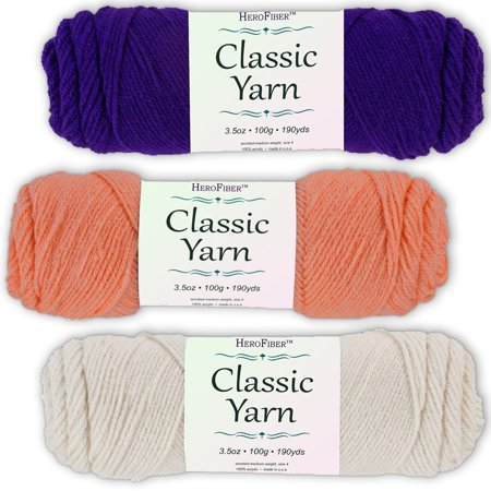 Soft Acrylic Yarn 3-Pack, 3.5oz / ball, Purple Amethyst + Pink Coral + White Eggshell. Great value for knitting, crochet, needlework, arts & crafts projects, gift set for beginners and pros