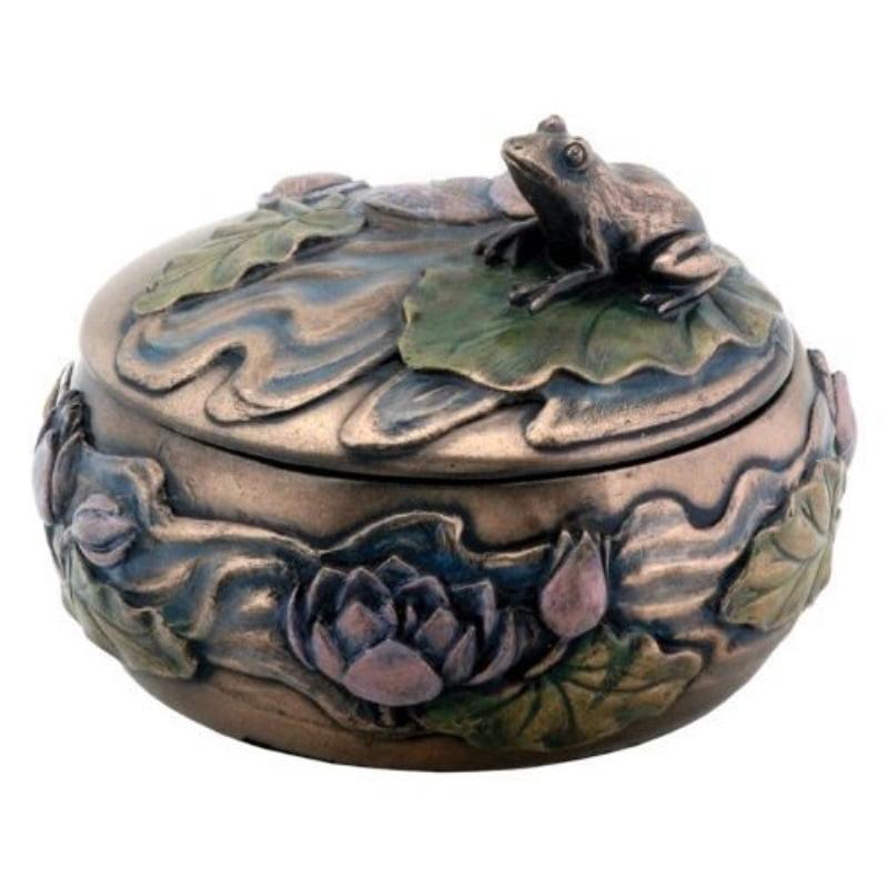 Frog Sitting on Lily Decoration Art Nouveau Design Jewelry Box