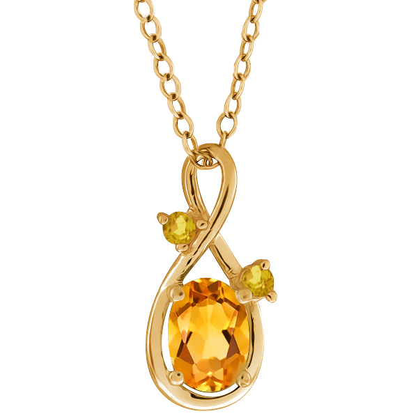 0.67 Ct Oval Yellow Citrine and Simulated Citrine 14k Yellow Gold Pendant