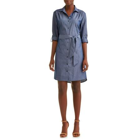 Women's Roll Tab Shirt Dress