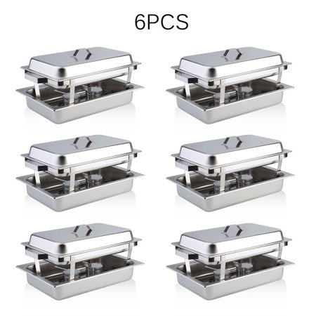 Chafing Dish Set of 6 Stainless Steel Chafer Full Size 9.5 Qt. Chafing Dishes for Catering Buffet Warmer Tray Kitchen Party Dining (Party Warmers)