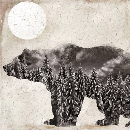 Finished Canvas (Bear Silhouette Wildlife and Woods 30x30 Indoor Wall Canvas with Crackle)