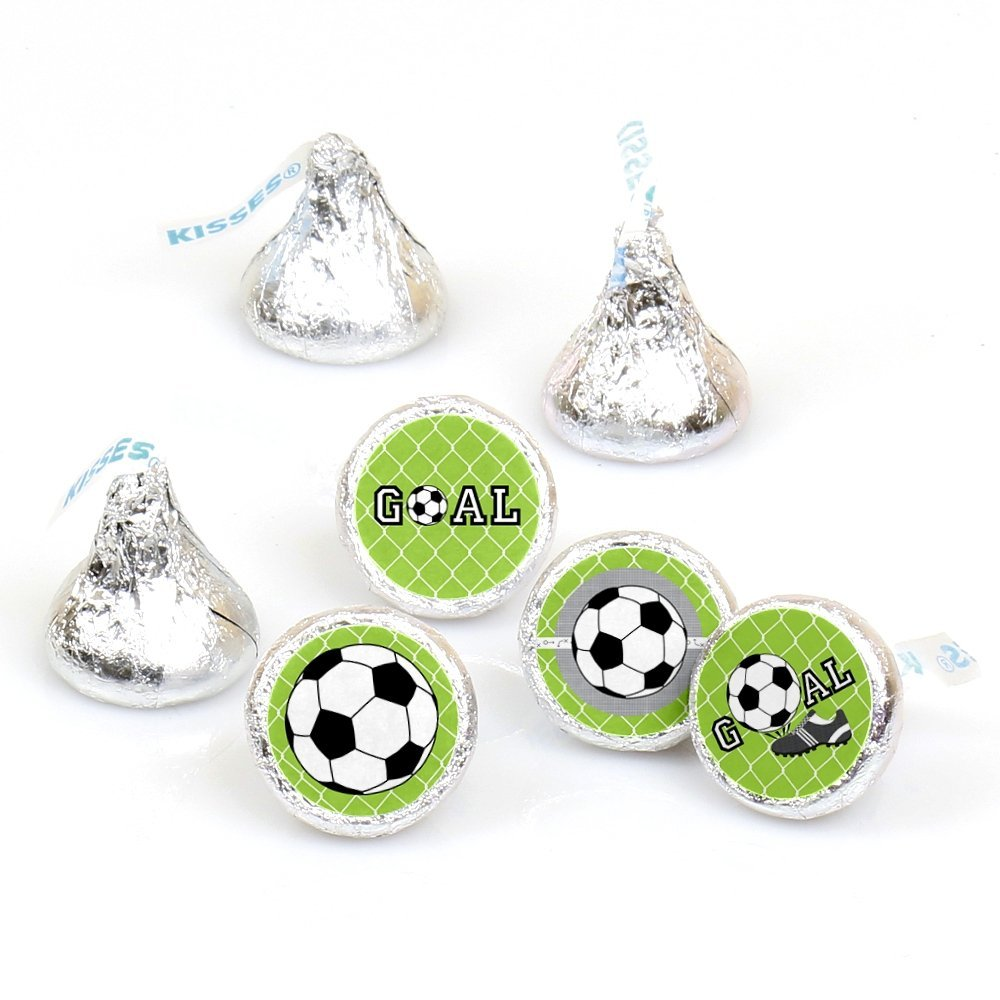GOAAAL! Soccer - Party Round Candy Stickers -  Labels Fit Hershey's Kisses (1 sheet of 108)