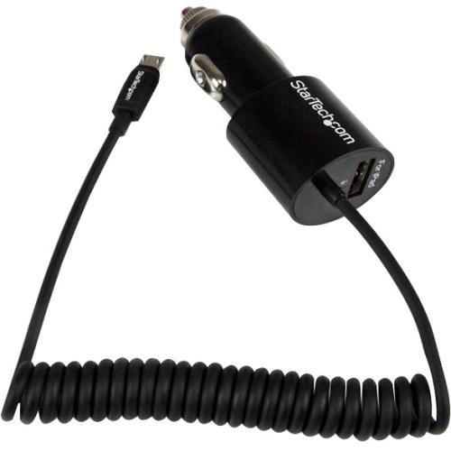 StarTech Black Dual Port Car Charger with Micro USB Cable and USB 2.0 Port - High Power (21 Watt / 4.2 Amp) - 21 W Outpu