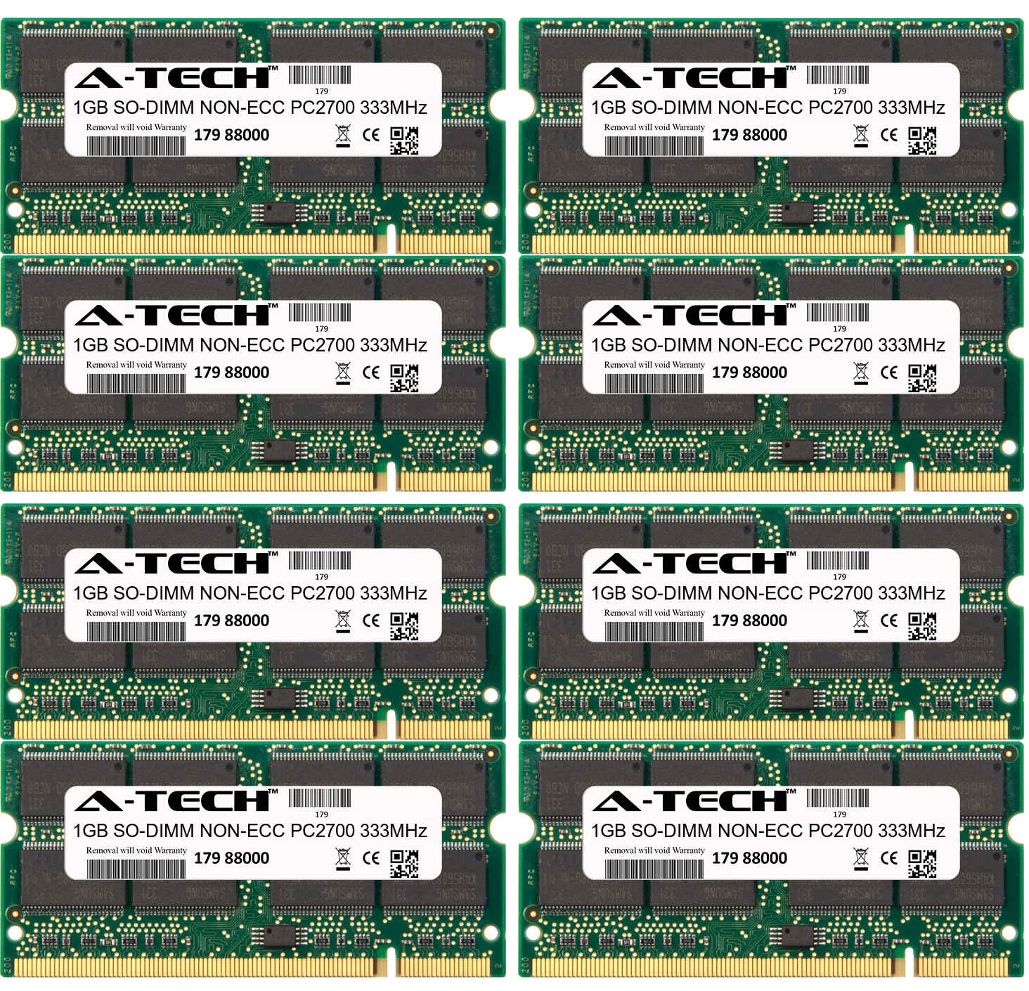 8GB Kit 8x 1GB Modules PC2700 333MHz NON-ECC DDR SO-DIMM ...