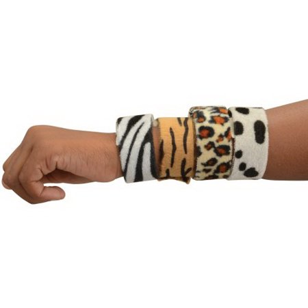 (Price/Pack)US TOY JA856 Animal Print Slap Bracelets / 8-pc (Slap Braclet)