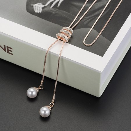Cheap Long Fake Pearl Necklaces (Ladies Fashion Charm Crystal Pearls Pendant Necklace Luxury Long Necklace)