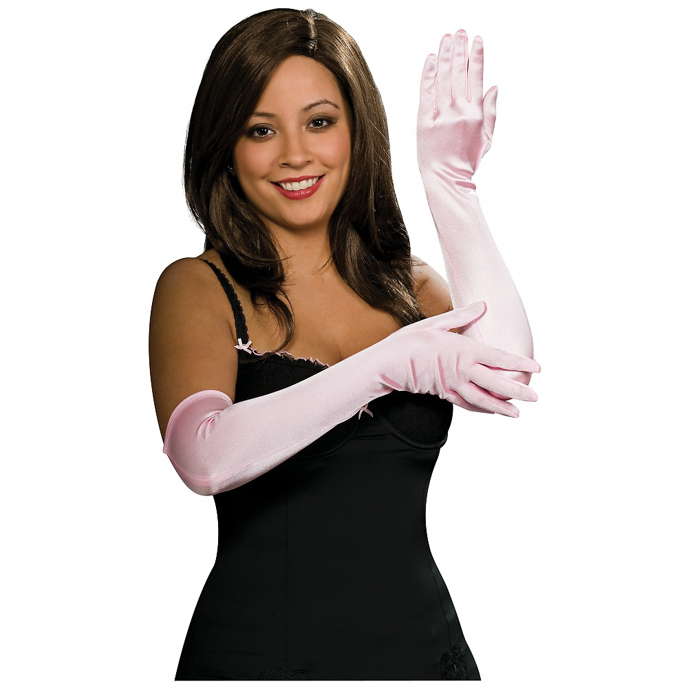 Stretch Satin Opera Length Gloves Adult Costume Accessory Light Pink