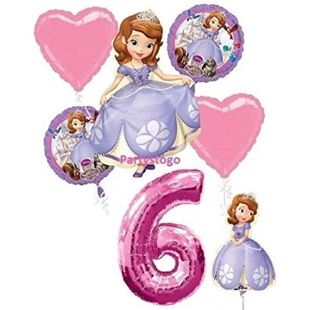 12 PACKS : DISNEY PRINCESS SOFIA THE FIRST 6TH BIRTHDAY PARTY BALLOONS DECORATIONS WITH 16