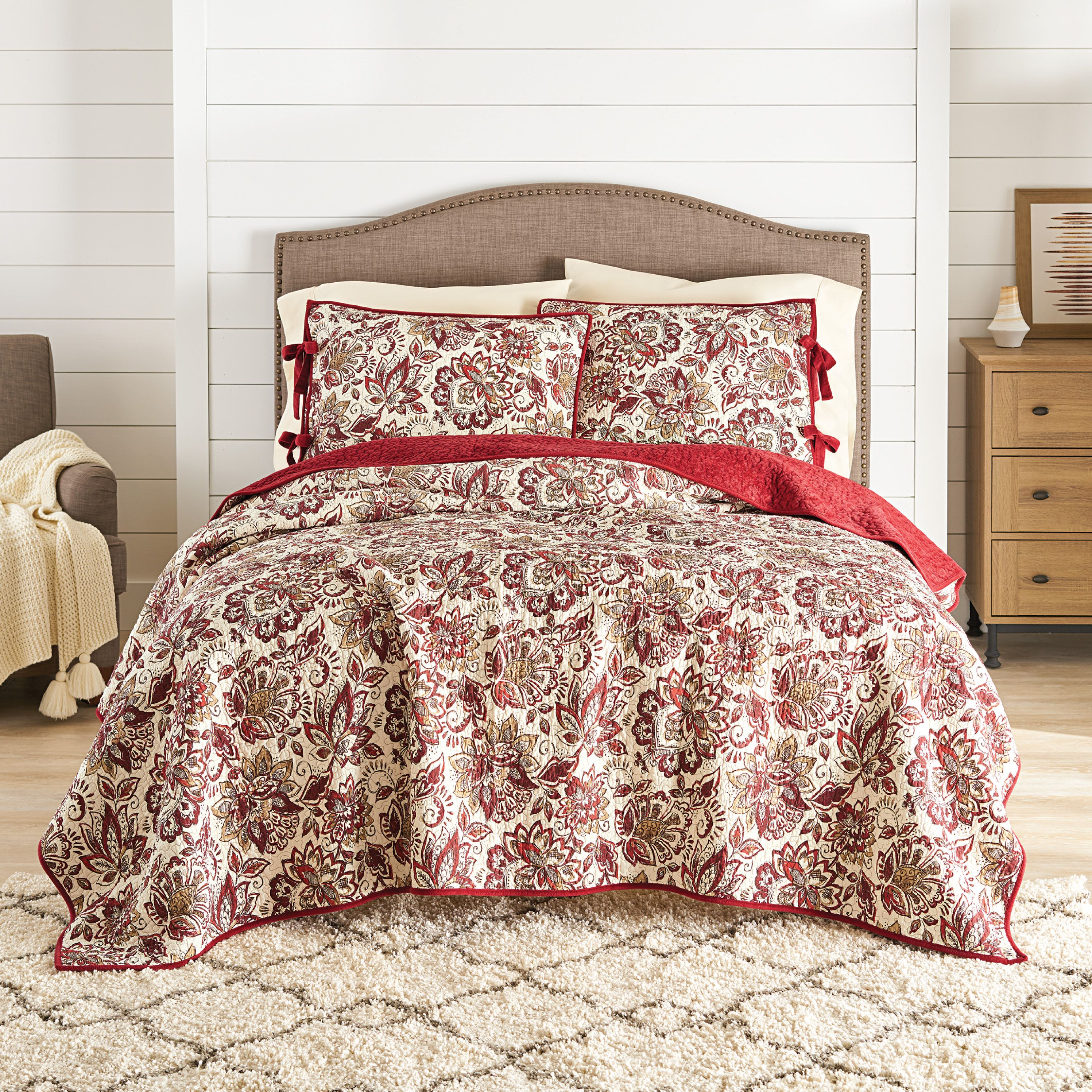 Better Homes and Gardens Spice Jacobean Velvet Quilt by Peking Handicraft Inc