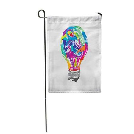 KDAGR Watercolor Color Creative Painting Idea Mind Artist Unique Bulb Garden Flag Decorative Flag House Banner 12x18 inch ()