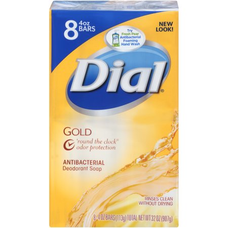 Dial Antibacterial Deodorant Bar Soap, Gold, 4 Ounce Bars, 8 Count