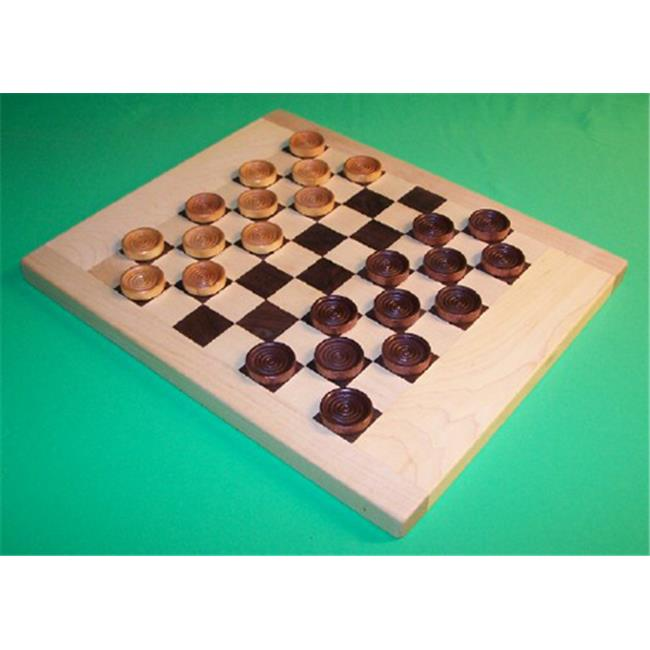 THE PUZZLE-MAN TOYS W-1402 Wooden Game Board - Maple and Walnut Checkerboard  with 1-1/4 in. Checkers