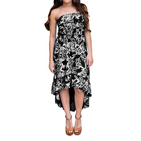 Peach Couture Trendy Paisley Ruffled Strapless Fitted Waist Blouson Hi Lo Dress (XL, Black)
