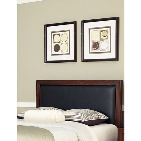 Home Styles Duet King/California King Panel Headboard with Black Leather Inset, Rustic Cherry