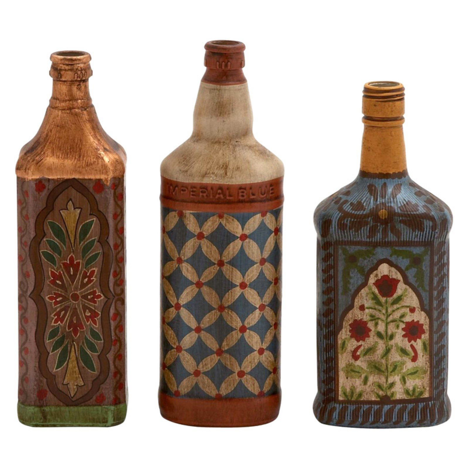 Uniquely Conceived Glass Painted Bottle, Set Of 3
