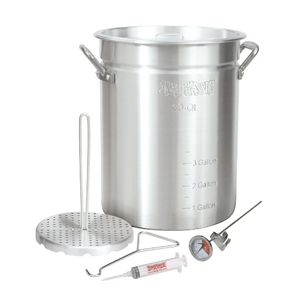 Bayou Classic 30 Quart Aluminum Whole Turkey Fryer Stockpot with Accessories