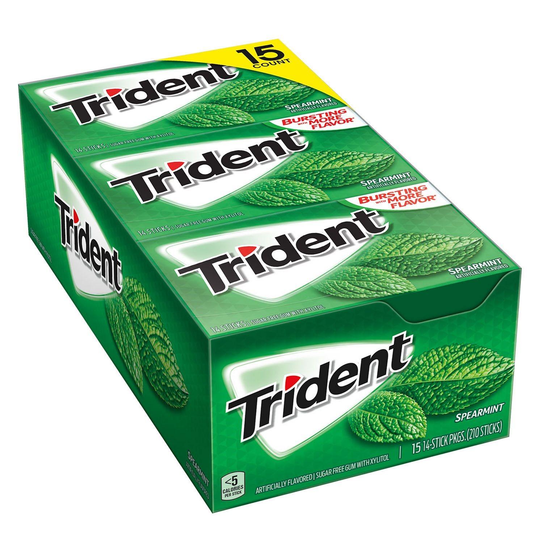 Trident Sugar-Free Gum, Spearmint, 14 Sticks, 15 Ct