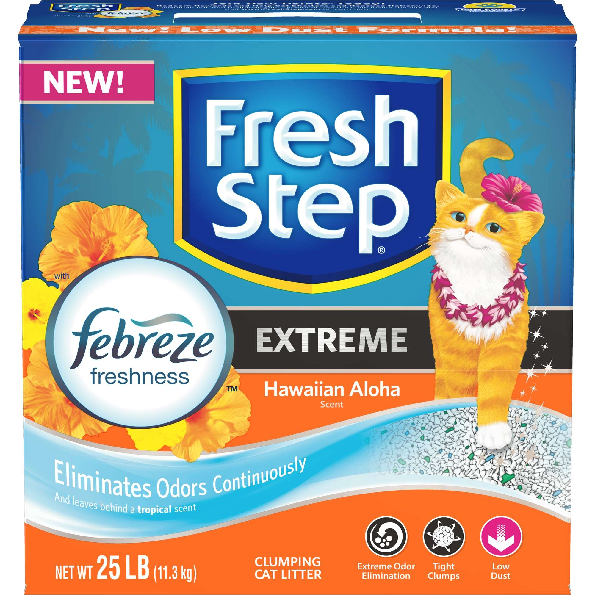 Fresh Step Extreme with Febreze Freshness Hawaiian Aloha Clumping Cat Litter, 25 Lb.