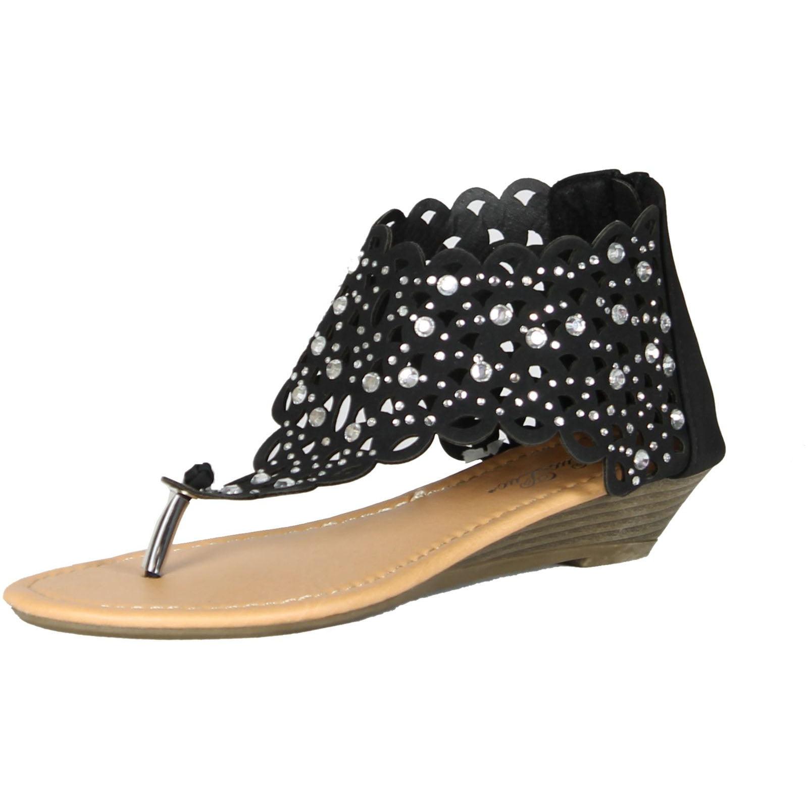 30b2c5a40 Luo Luo - Womens Gladiator Sandals Wedge Heel Thongs Dressy Ankle Wrap  Shoes W Rhinestone - Walmart.com