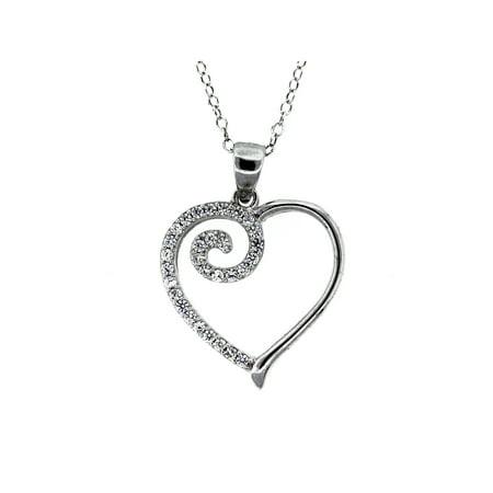 CZ Sterling Silver Swirl Heart Pendant, 18