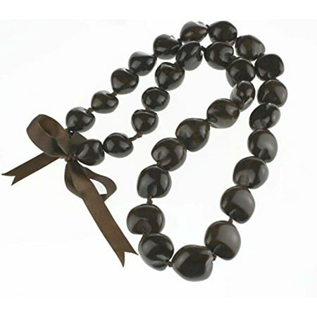 Hawaii Kukui Nut Lei Necklace (Brown)