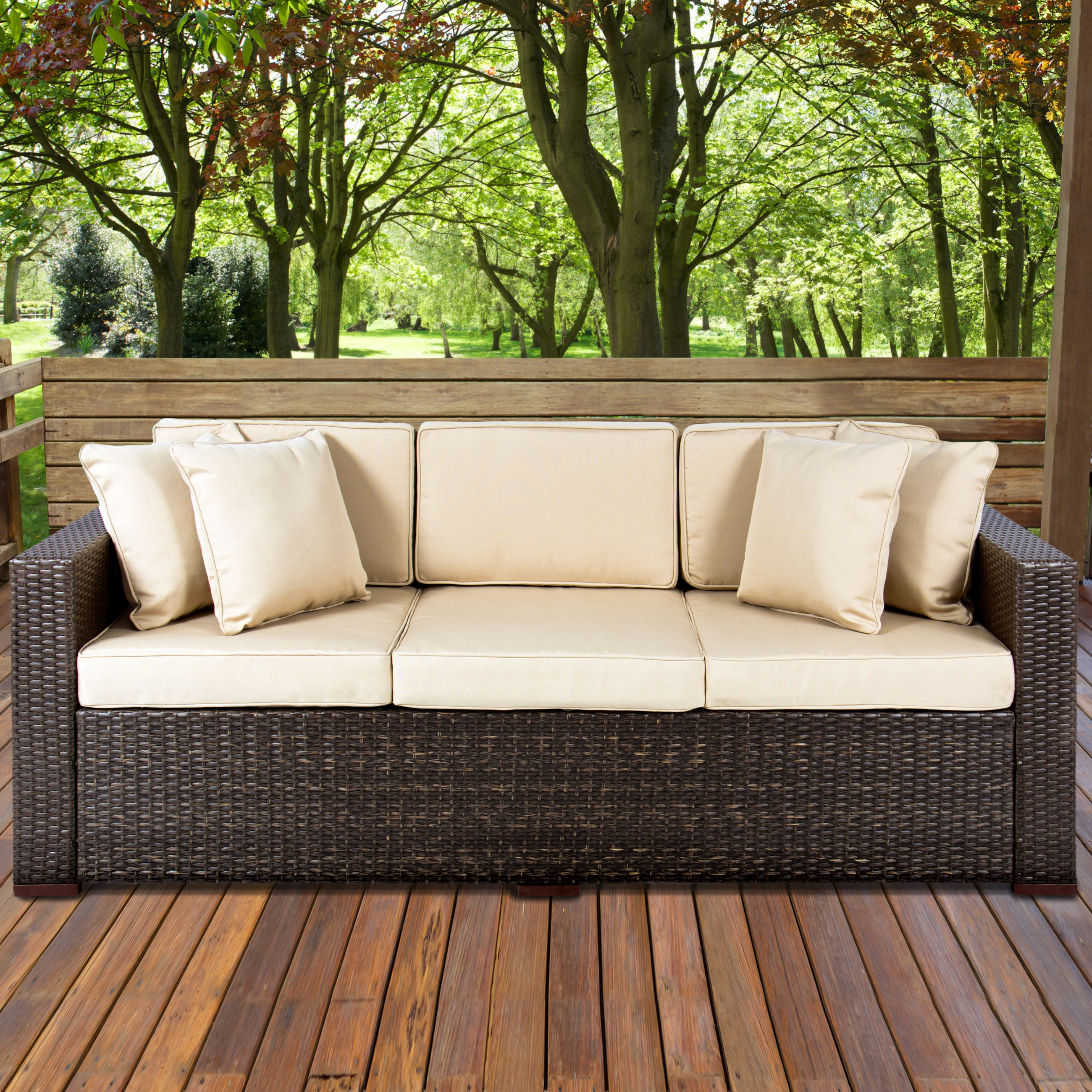 Outdoor Wicker Patio Furniture Sofa 3 Seater Luxury fort Brown