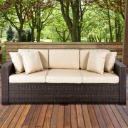 Outdoor Wicker Patio Furniture Sofa 3 Seater Luxury Comfort Brown Couch