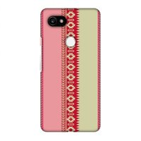 Google Pixel 2 XL Case - Tribal patterns and solids- Beige and flamingo pink, Hard Plastic Back Cover, Slim Profile Cute Printed Designer Snap on Case with Screen Cleaning Kit