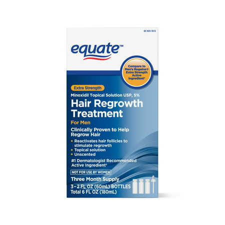 Equate Men's Extra Strength 5% Minoxidil Topical Solution USP for Hair Regrowth, 3-Month Supply